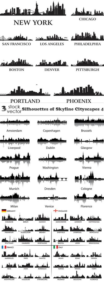 Vectors - Silhouettes of Skyline Cityscapes 4